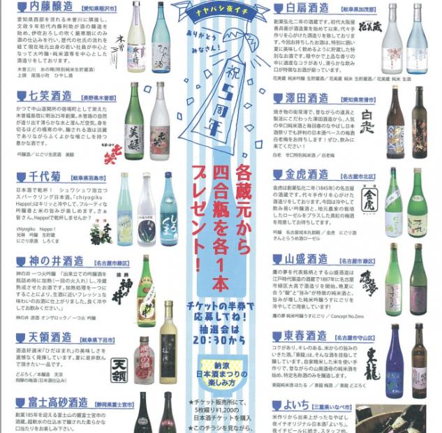 夏の夜に納屋橋で東海地方の日本酒に酔いしれよう!「なやばし日本酒祭り2015」8月28日(金)開催 - 70ffd6726464807fdbc74c0a781d4ec4 633x620