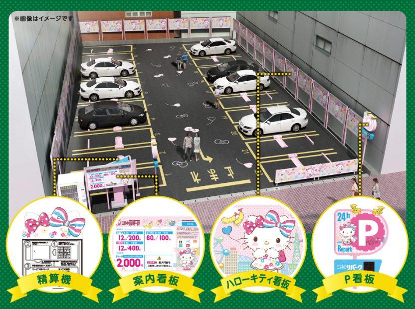 駐車場がピンク一色!ハローキティとコラボの「三井のリパーク」矢場町にオープン! - index fig 01 832x620