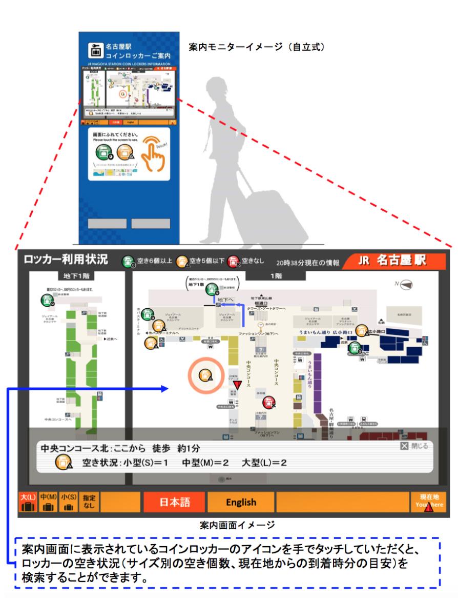 東海地区初!名古屋駅に「コインロッカー空き状況案内システム」3月20日より導入 - image coinlockersystem
