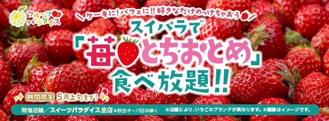 スイパラの春は、夢いっぱいのいちご祭り!『苺・とちおとめ食べ放題』 - 1902 strawberry w670xh248